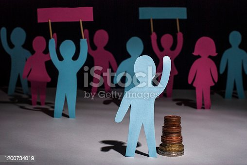 513121118 istock photo people protest. Salary increase strike. Paper people, with posters in their hands, on strike for a pay raise. Salary reduction 1200734019
