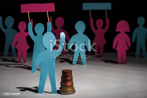 513121118 istock photo people protest. Salary increase strike. Paper people, with posters in their hands, on strike for a pay raise. Salary reduction 1200734035