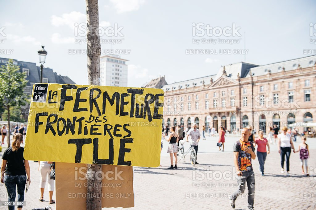 People protesting against immigration policy and border managemen stock photo