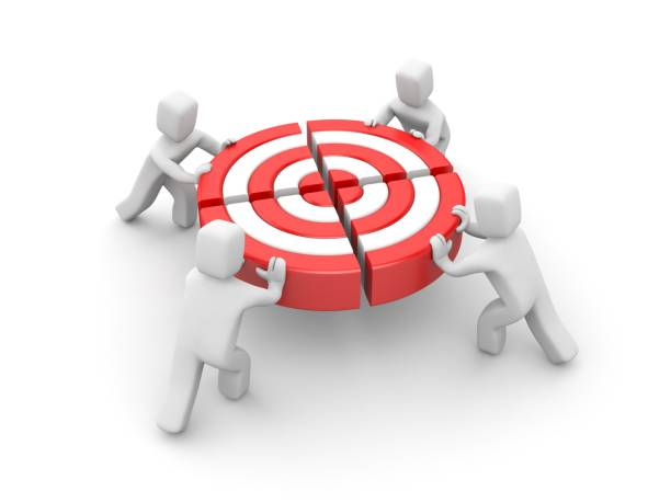 people pushing target piece part to connect into one. team success. reach goal. 3d illustration. - advertising isometric stock pictures, royalty-free photos & images