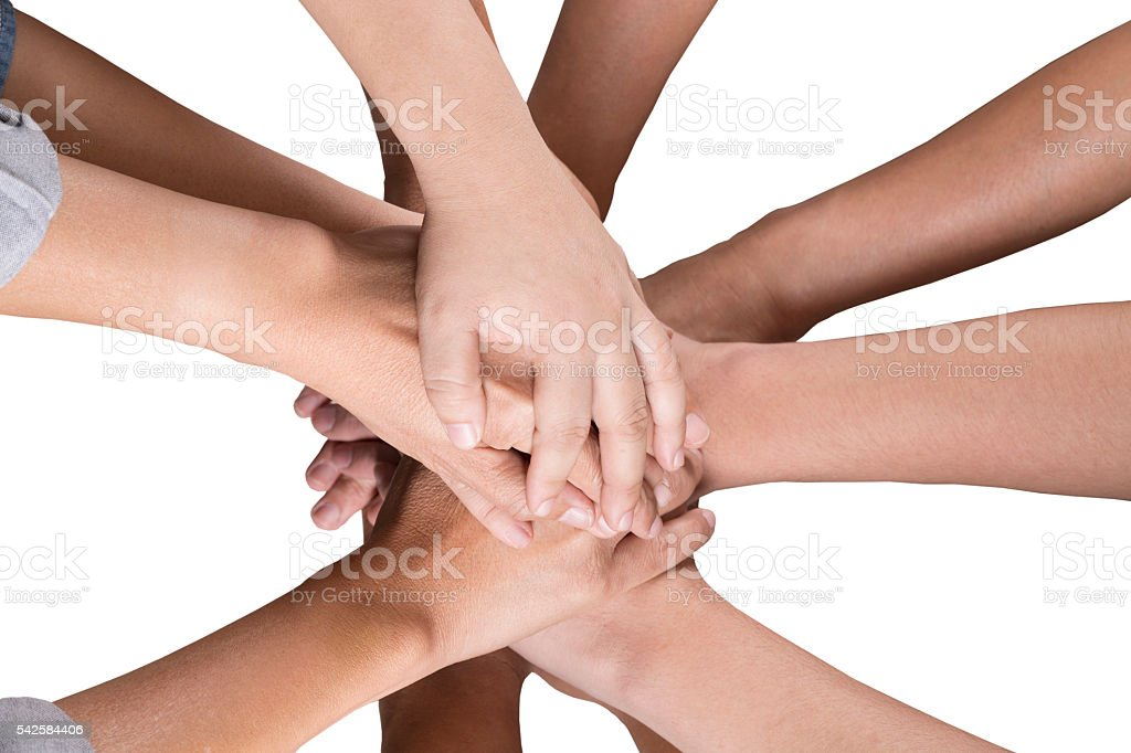 people put hand together isolated on white background stock photo