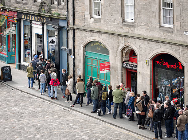 People Queueing Outside Avalanche Records stock photo