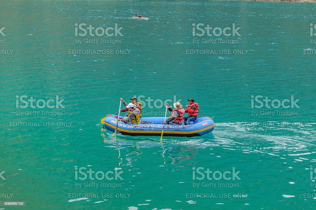 People Rafting at Quilotoa Lake, Ecuador stock photo
