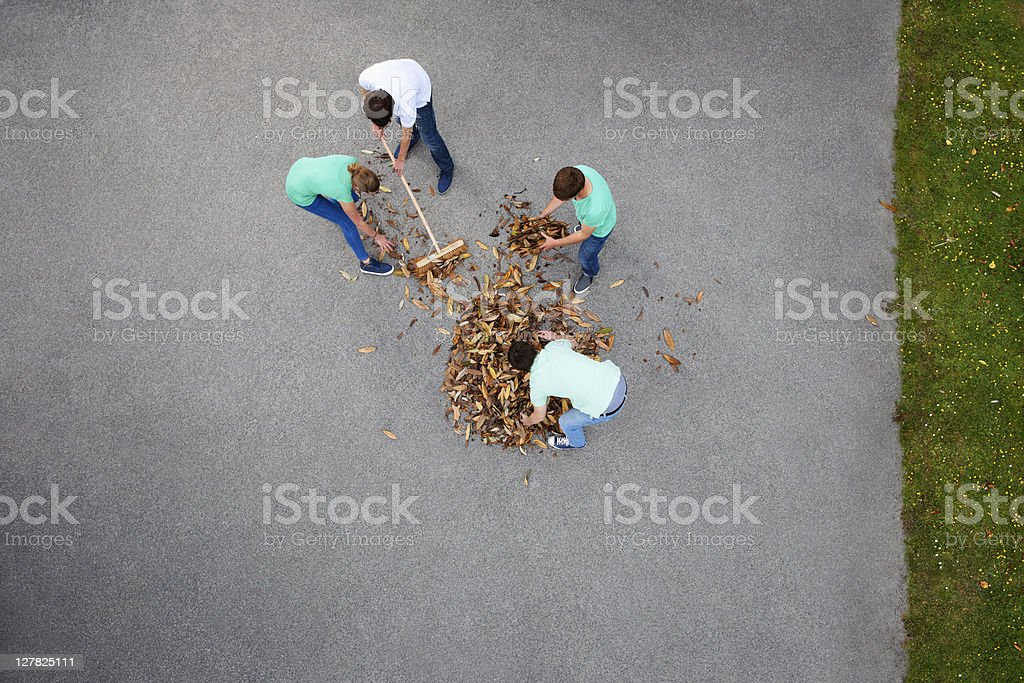 People raking leaves stock photo