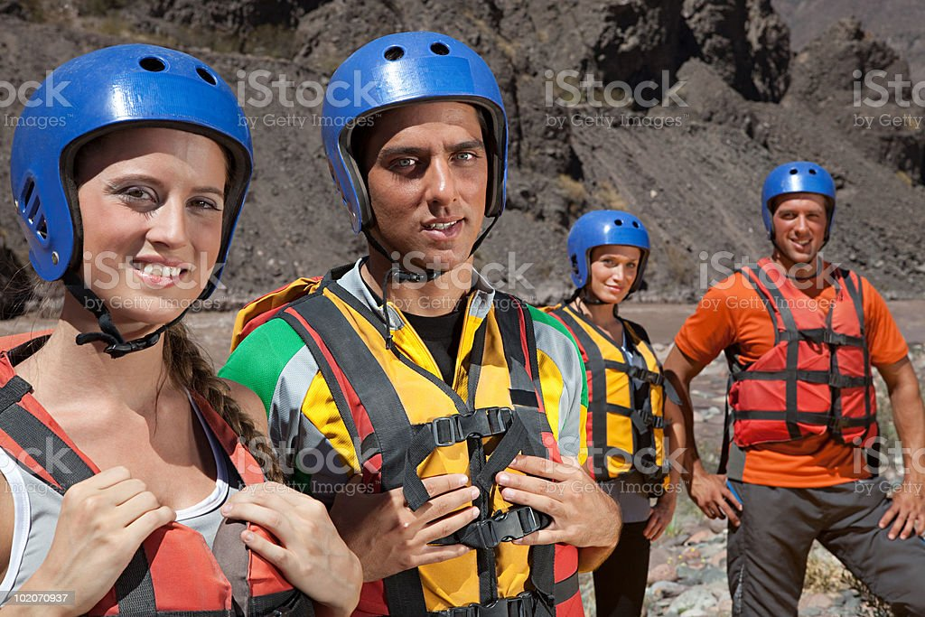 People ready for white water rafting royalty-free stock photo