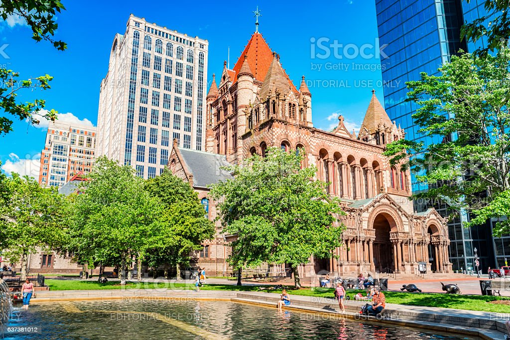 People Relax at Copley Square Fountain in Boston Massachusetts USA stock photo