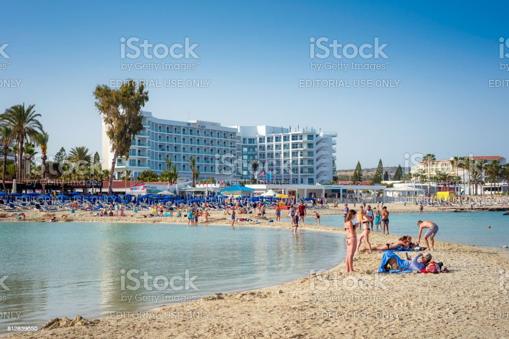 People relaxing at famous Nissi beach. Ayia Napa, Cyprus stock photo