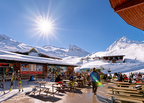 People relaxing at restaurant cafe chalet house Hintertuxer Glacier