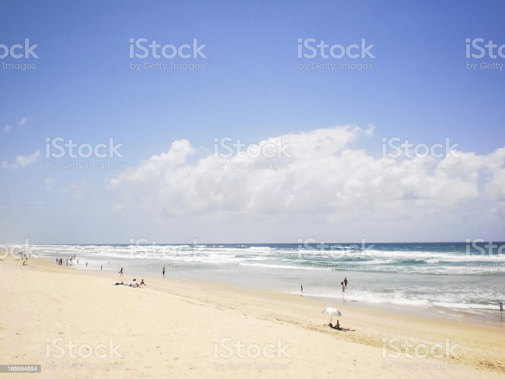 People Relaxing At Surfer Paradise Beach Gold Coast Stock