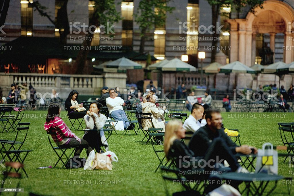 People relaxing in Bryant Park, New York stock photo