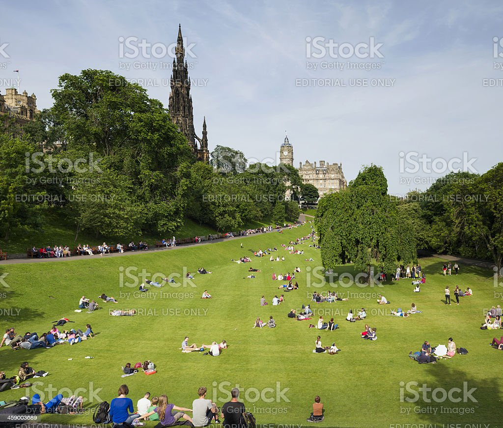 People Relaxing in Princes Street Gardens stock photo