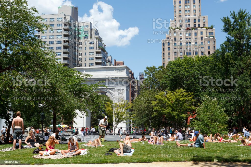 People Relaxing in Washington Square Park Greenwich Village Manhattan stock photo