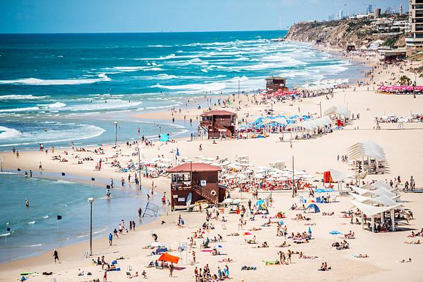 People relaxing on Herzliya Beach, Tel Aviv,Israel – Foto