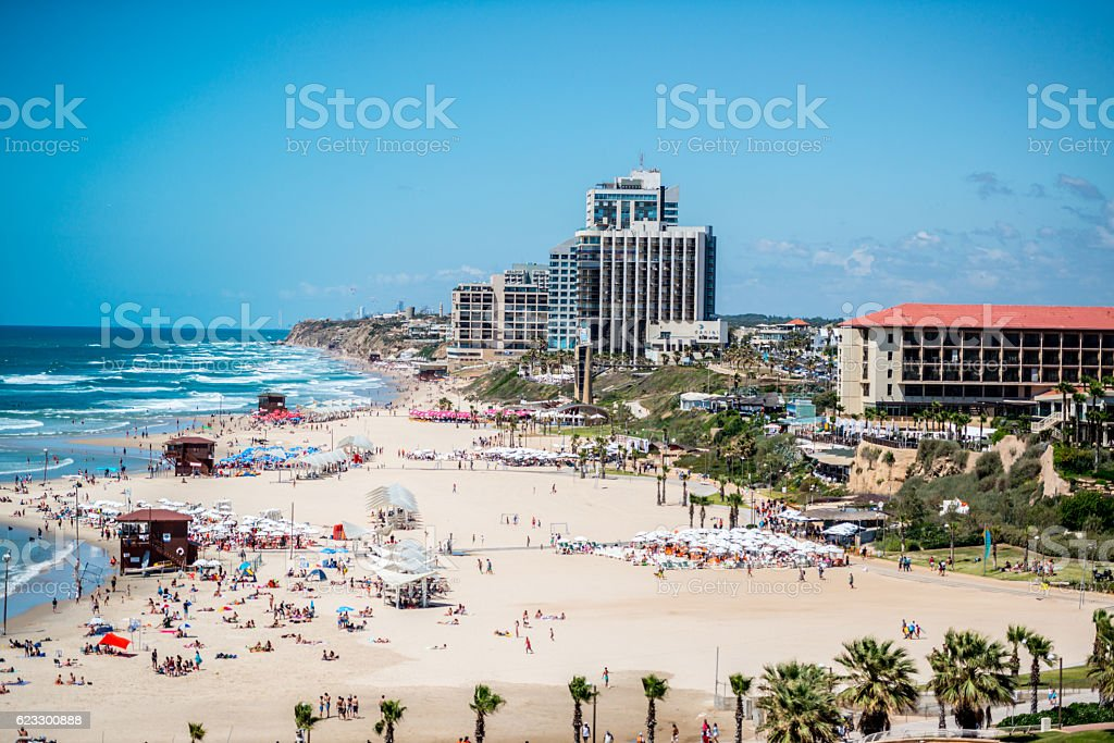 People relaxing on Herzliya Beach, Tel Aviv,Israel – Foto