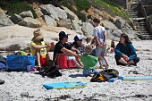 Carmel Beach, United States, - April 28 2018. People relaxing on the Californian beach.