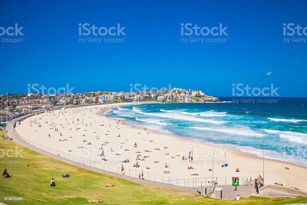 People relaxing on the Bondi beach in Sydney, Australia. People relaxing on the Bondi beach in Sydney, Australia. Bondi beach is one of the most famous beach in the world. Australia Stock Photo