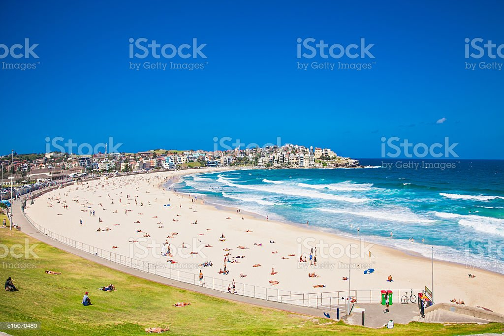 People relaxing on the Bondi beach in Sydney, Australia. stock photo