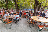 08 August 2019, Munich, Germany: People resting and drinking in beer garden