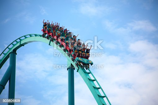 Vaughan, Ontario, Canada - July 26, 2014: People riding the Leviathan rollercoaster at Canada's Wonderland amusement park