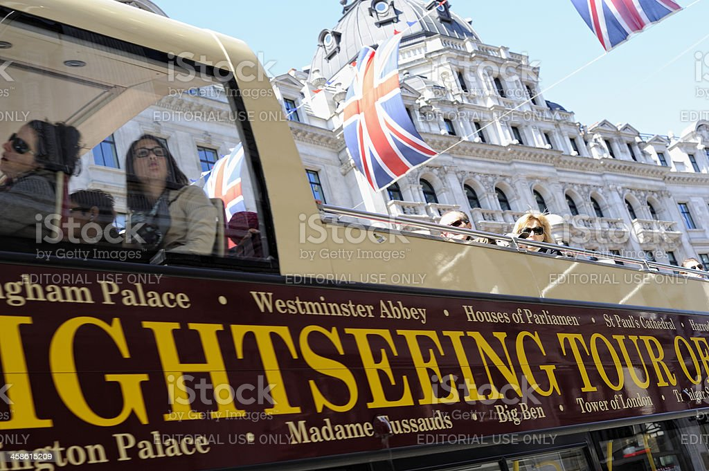 People Riding a Sight-seeing Tour Bus on Regent Street London royalty-free stock photo