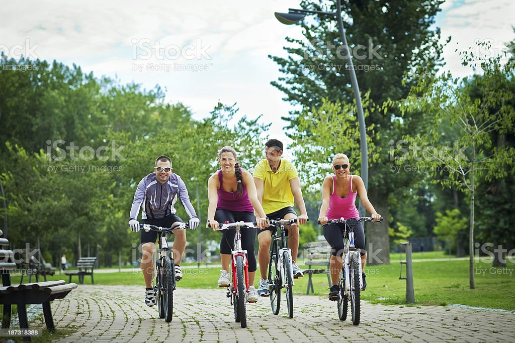 People riding bicycles royalty-free stock photo