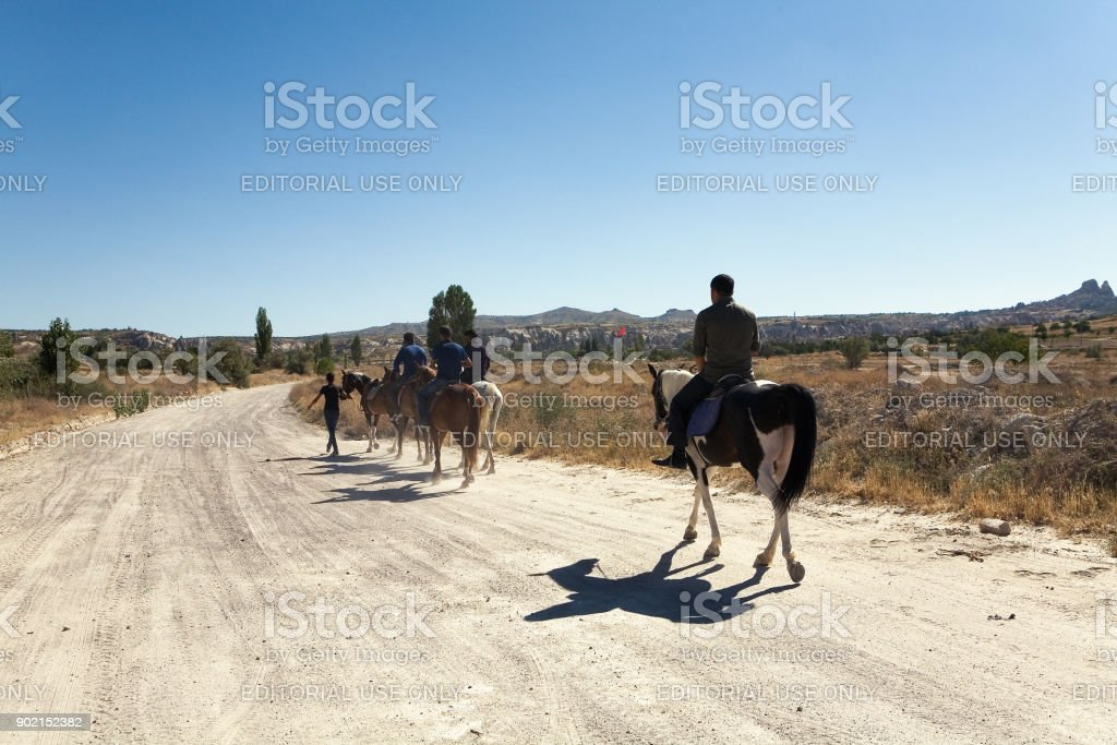 People riding horses on the road. stock photo