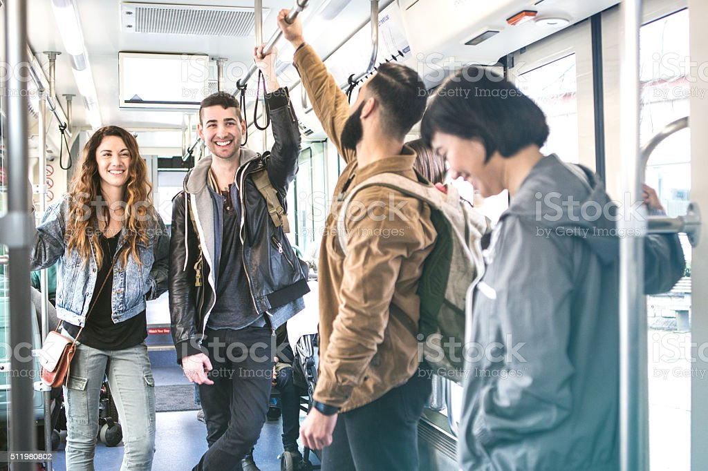 People Riding Seattle Light Rail stock photo