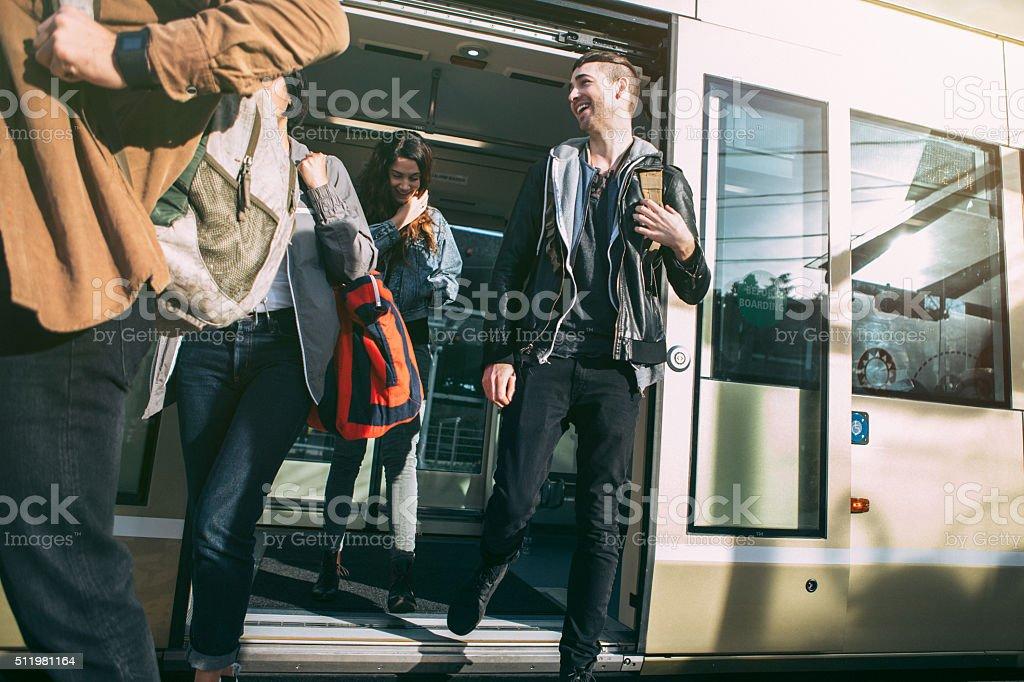 People Riding Seattle Light Rail stock photo