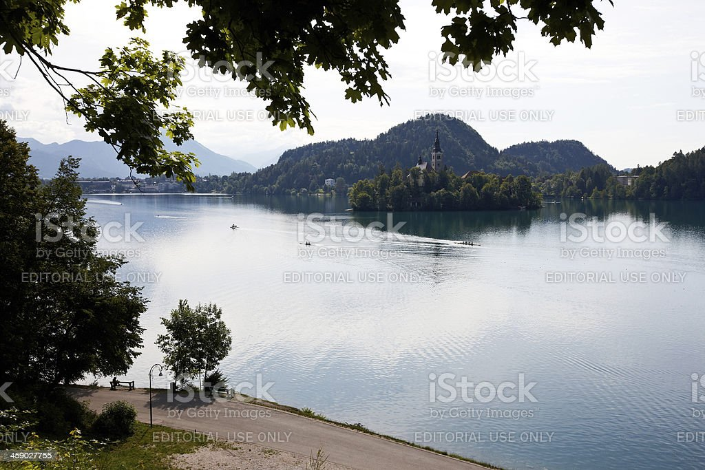 People rowing on Lake Bled in Slovenia royalty-free stock photo
