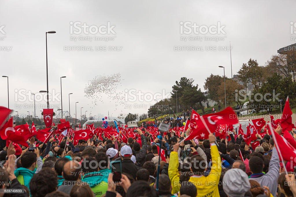 people running at international bosphorus marathon in istanbul turkey stock photo