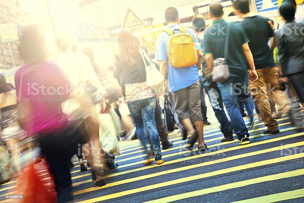 People Rushing Through Hongkong royalty-free stock photo