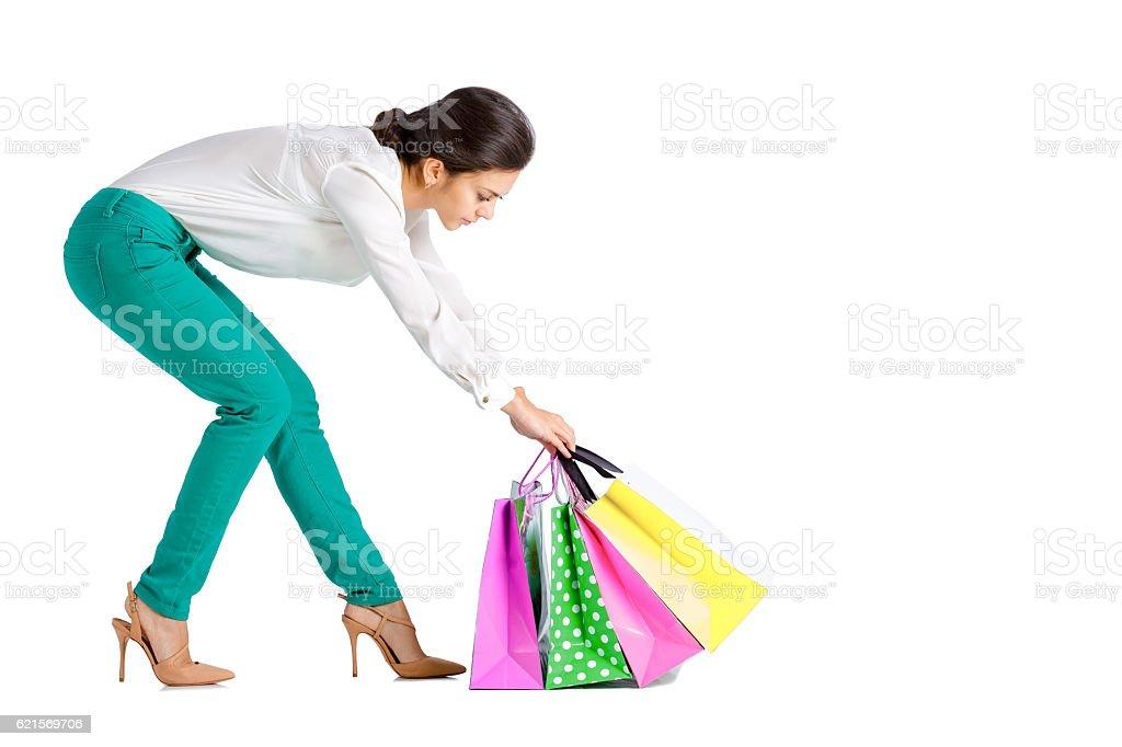 people, sale, black friday concept -  woman  with shopping bag Lizenzfreies stock-foto