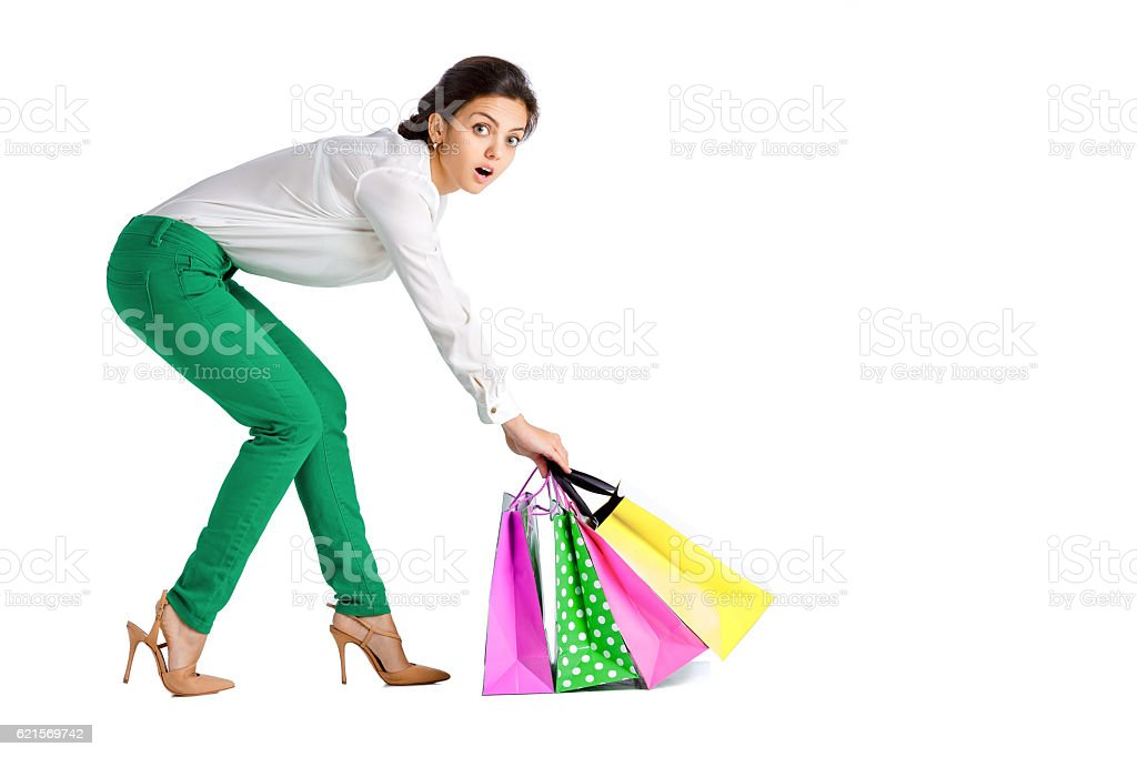 people, sale, black friday concept -  woman  with shopping bag foto stock royalty-free