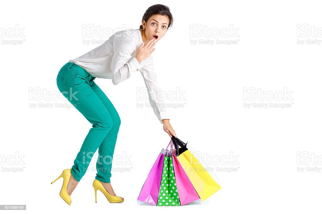 people, sale, black friday concept -  woman  with shopping bag photo libre de droits