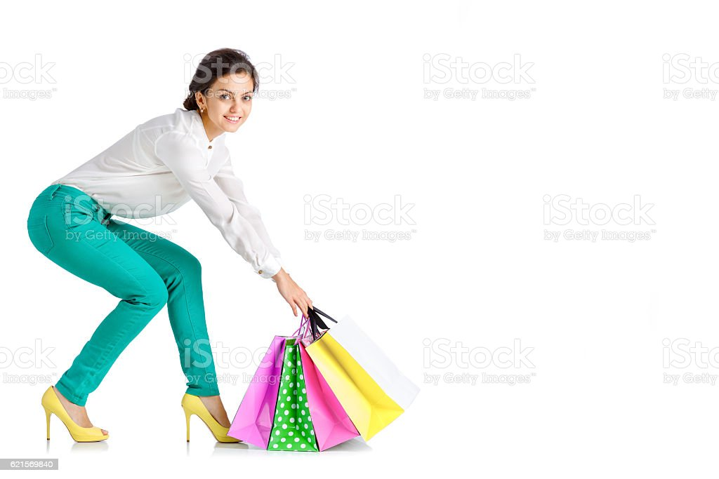 people, sale, black friday concept -  woman  with shopping bag photo libre de droits