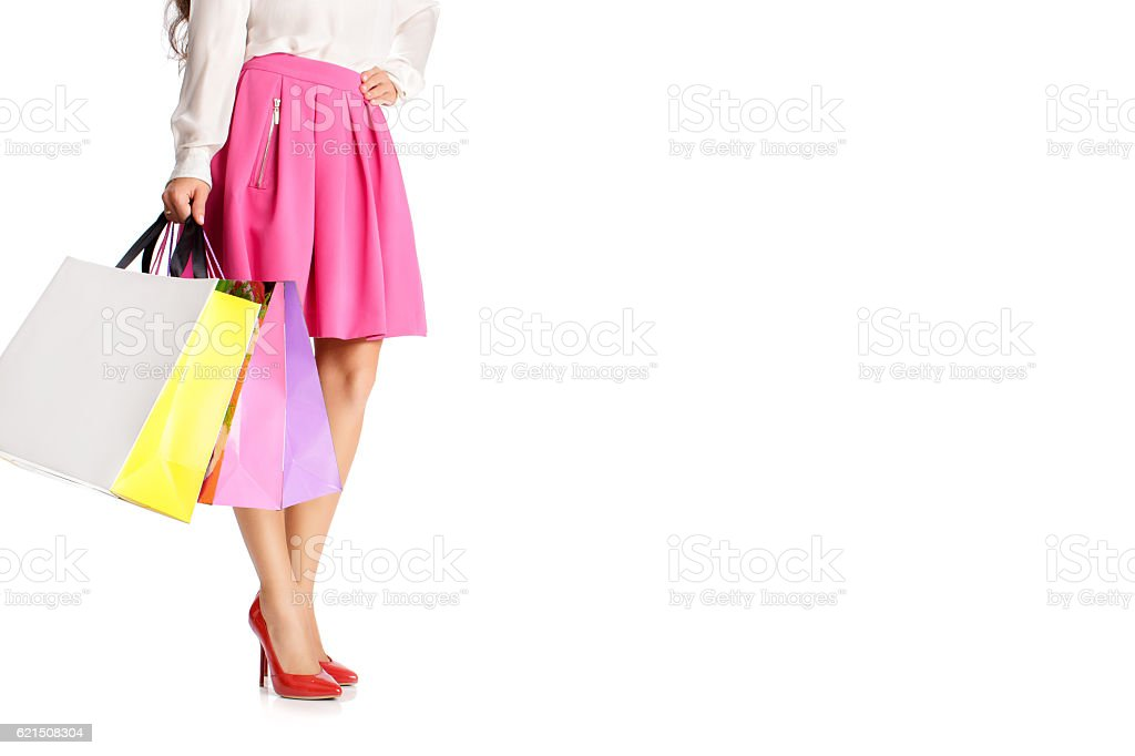 people, sale, black friday concept - woman with shopping bags Lizenzfreies stock-foto