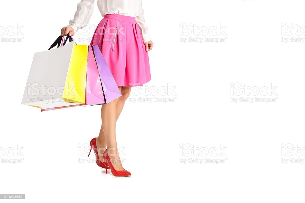 people, sale, black friday concept - woman with shopping bags photo libre de droits