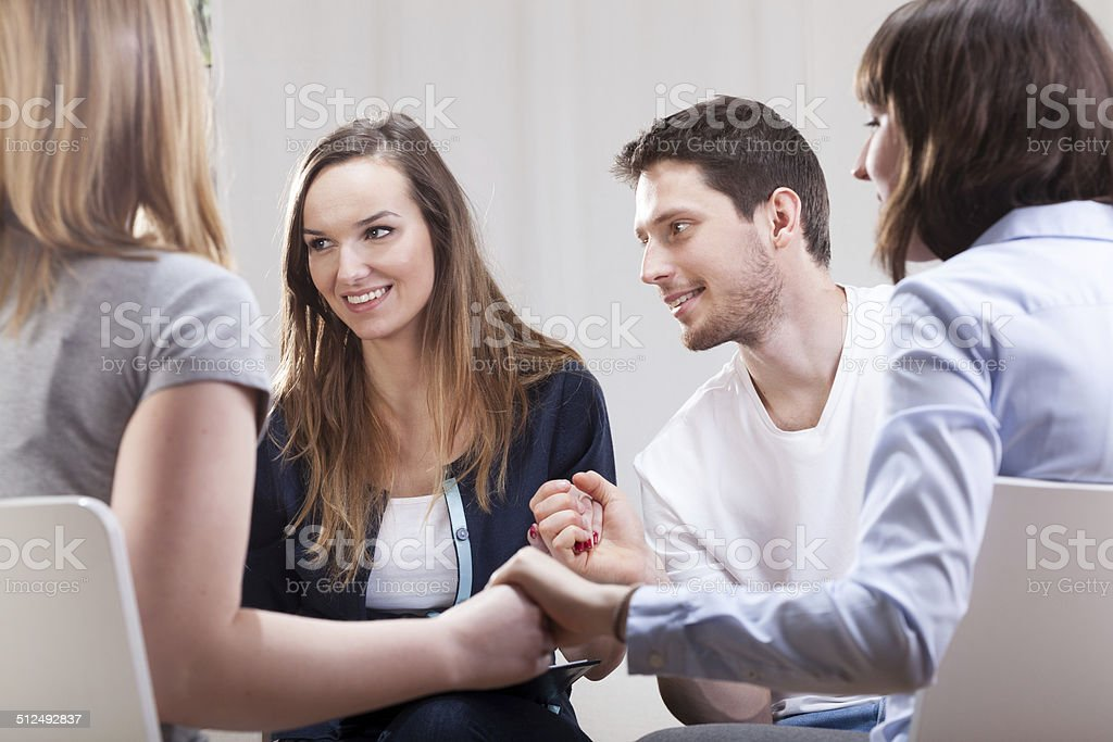 People satisfied on group therapy stock photo