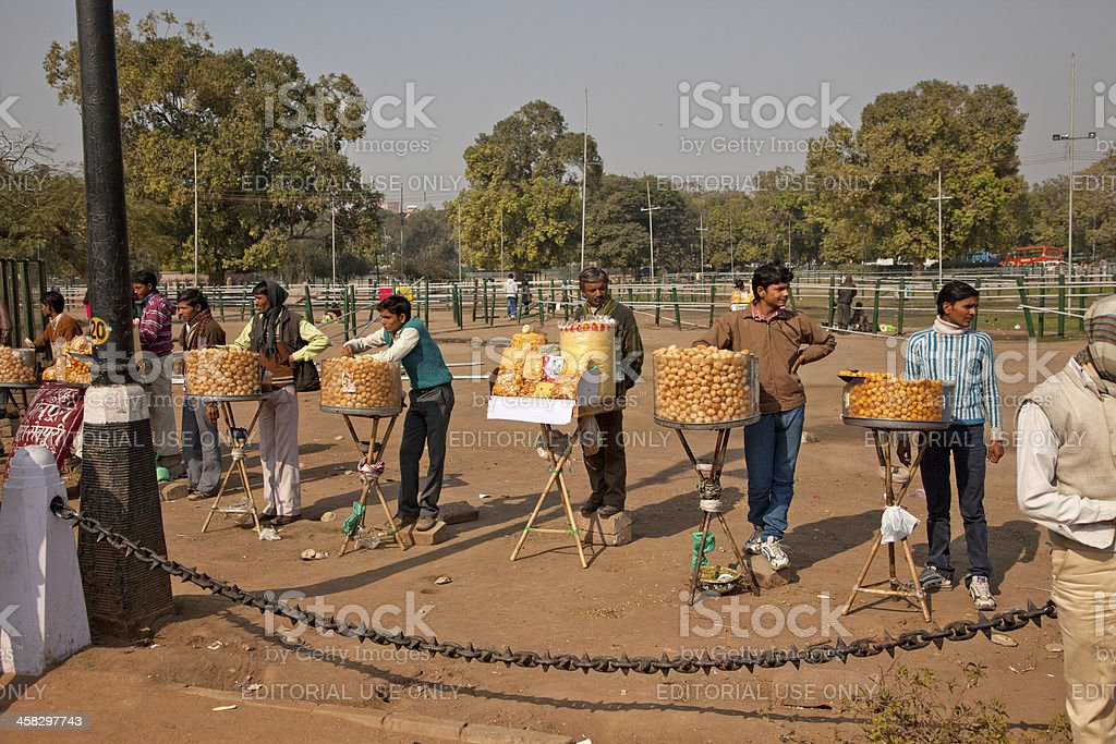 people selling variety of food at new delhi india royalty-free stock photo