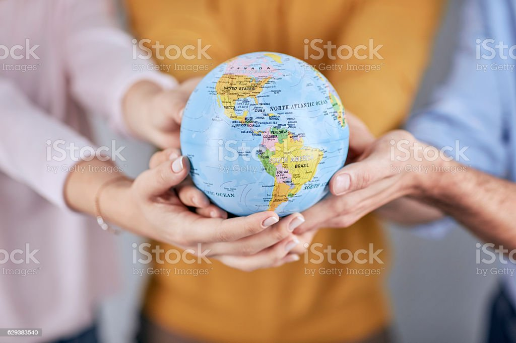 People share in gently supporting the Earth stock photo