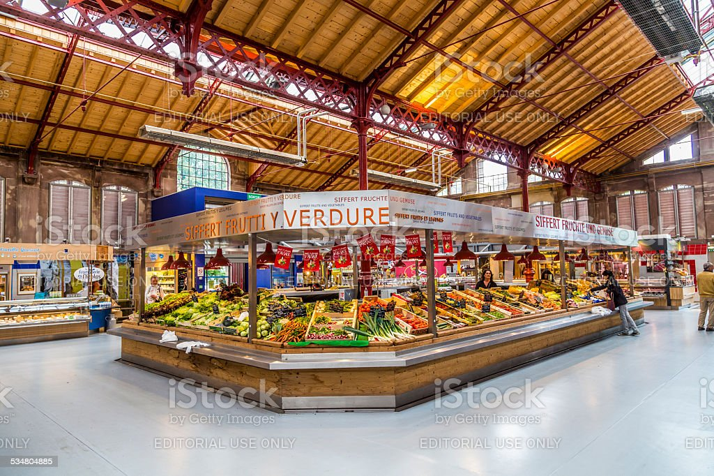 wholesale dealer 3e1fb 56202 People Shop In The Old Market Hall In Colmar Stock Photo ...