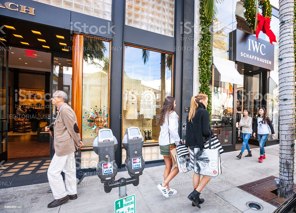 People shopping and sightseeing on Rodeo Drive royalty-free stock photo