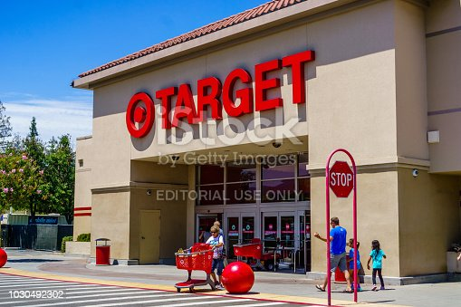 July 30, 2018 Cupertino / CA / USA - Entrance to one of the Target stores located in south San Francisco bay area