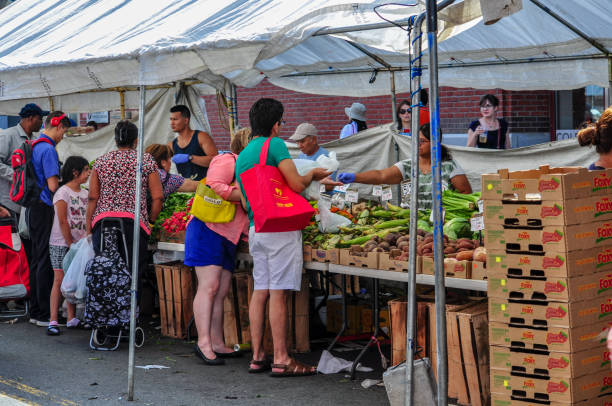 People Shopping at Outdoor Boston Haymarket stock photo