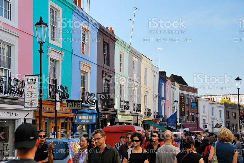 People shopping at Portobello road in Notting Hill london stock photo