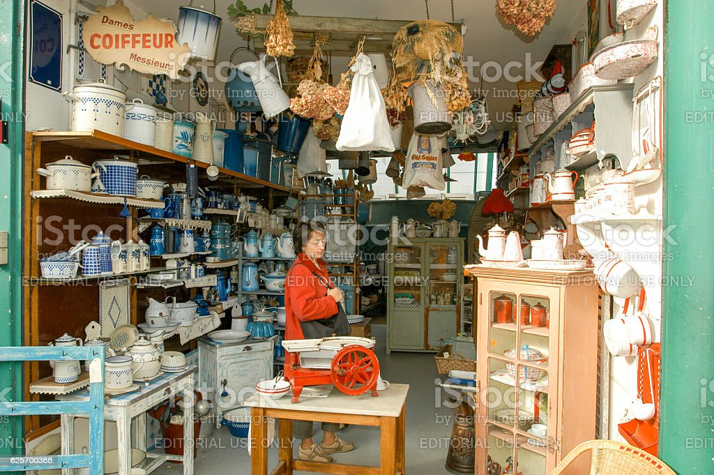 People shopping at the flea market of Clignancourt in Paris stock photo
