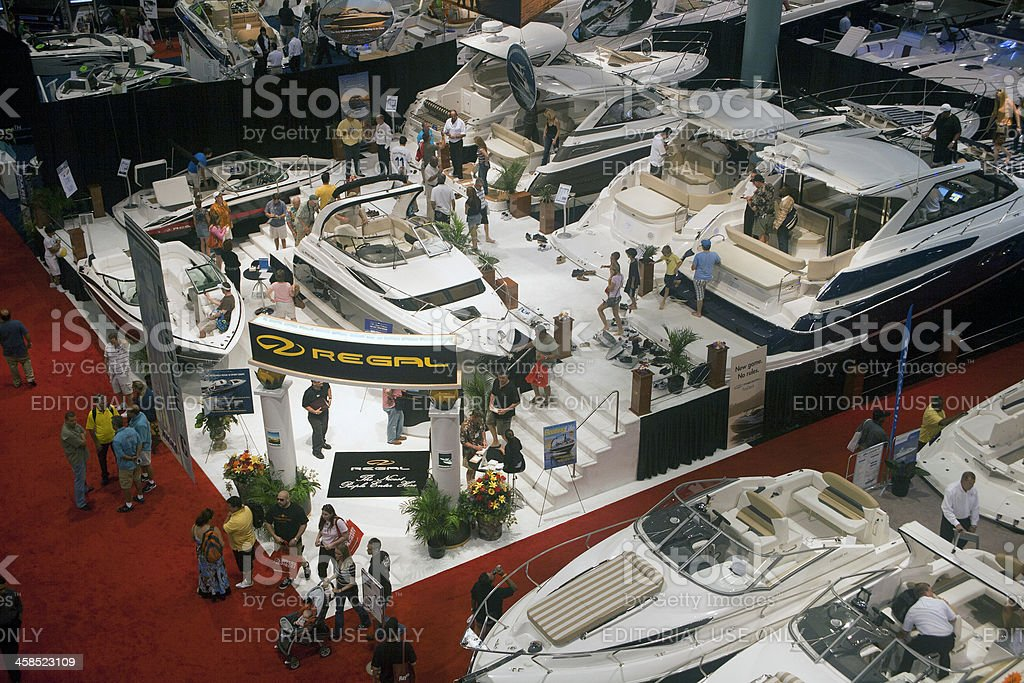 People shopping at the Miami International Boat Show stock photo