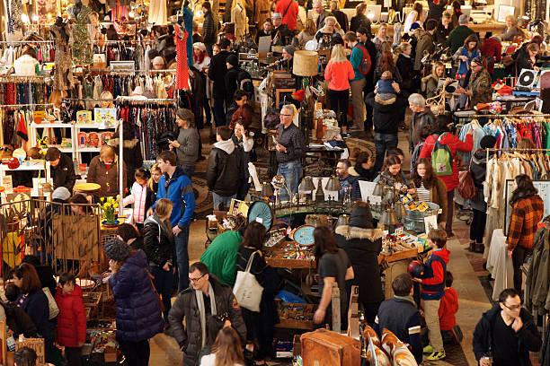 People Shopping at Winter Brooklyn Flea Market