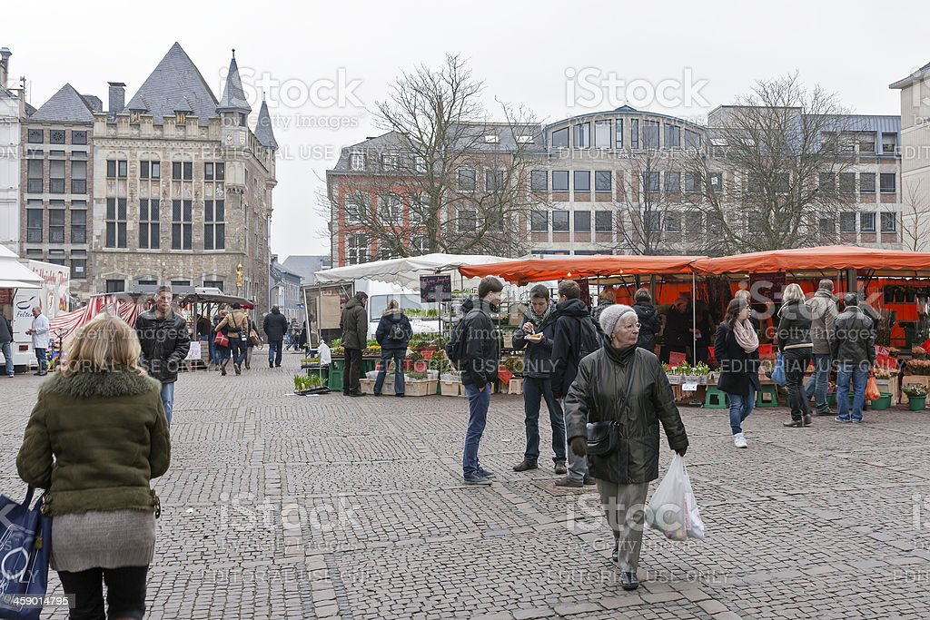 People shopping in Aachen, Germany stock photo