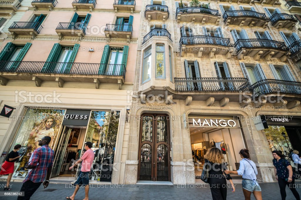 People shopping in Barcelona, Spain stock photo